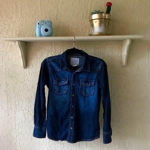 OVERDRIVE CLOTHING Dark Denim Button Down Shirt